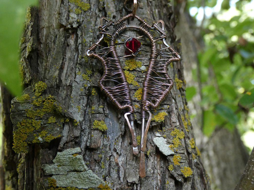 aged copper horde pendant