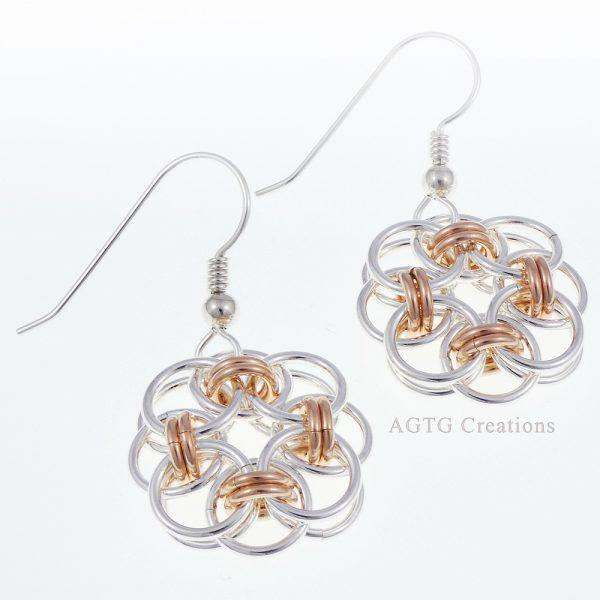 Helm Earrings argentium/rose gold