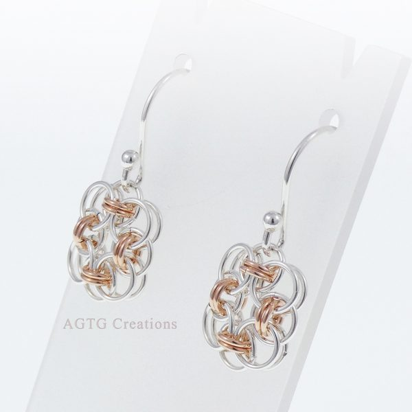 MiniHelm Earrings Argentium/Rose Gold