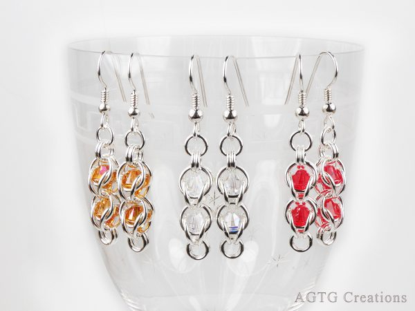 argent bead cage earrings