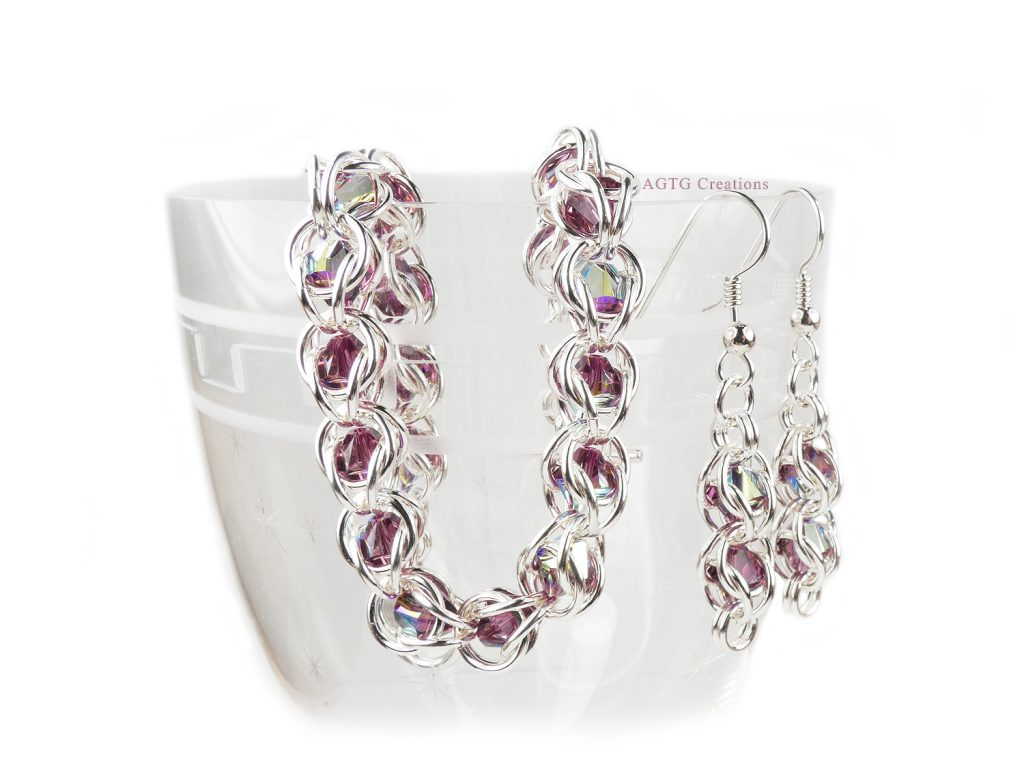 beadcage bracelet and earrings