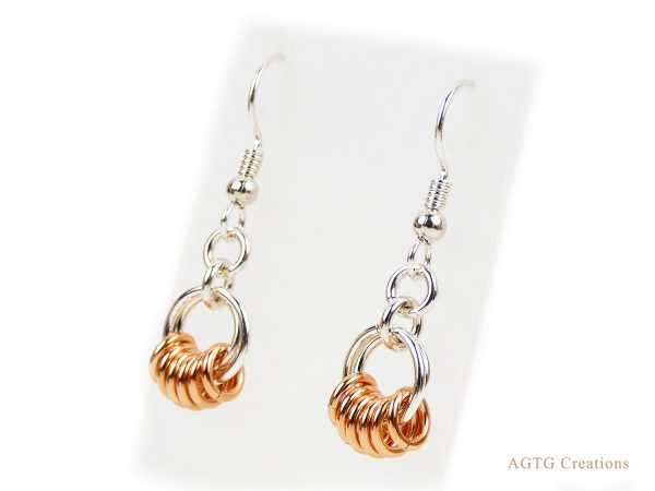 Argentium Rose Gold circles n circles earrings