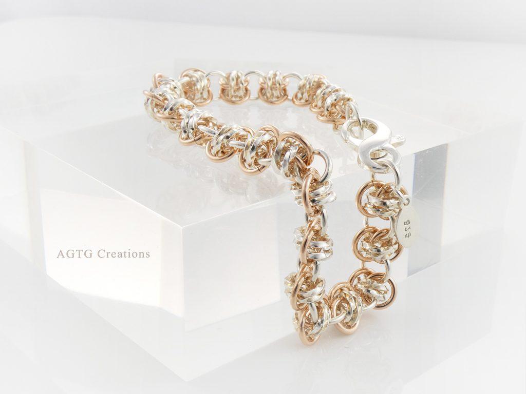 Argentium Rose Gold double barrel bracelet