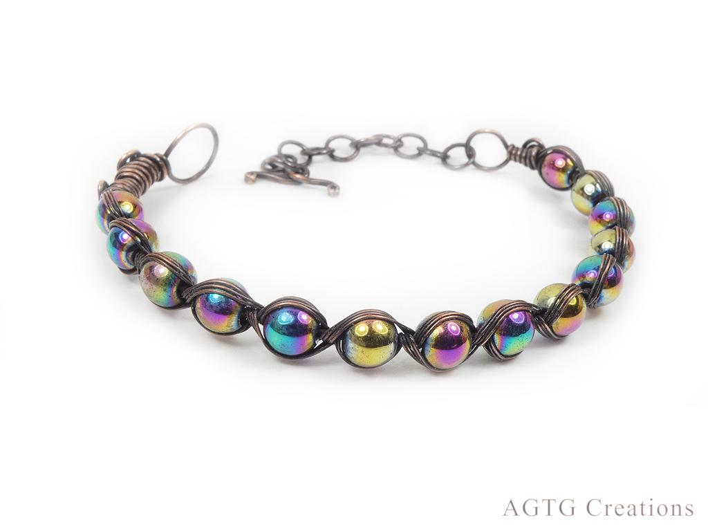 Copper Egyptian style Rainbow Hematite bracelet