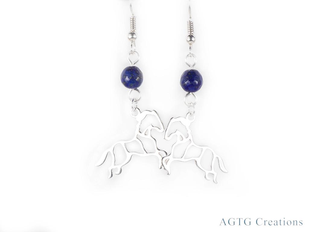 Sterling Silver horse Lapis earrings