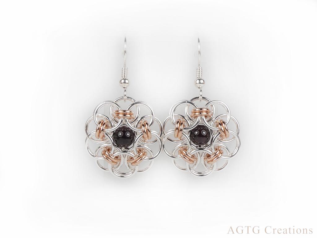 Argentium Rose Gold Celtic Garnet earrings