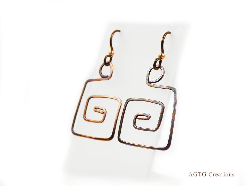 Copper Greek Key earrings