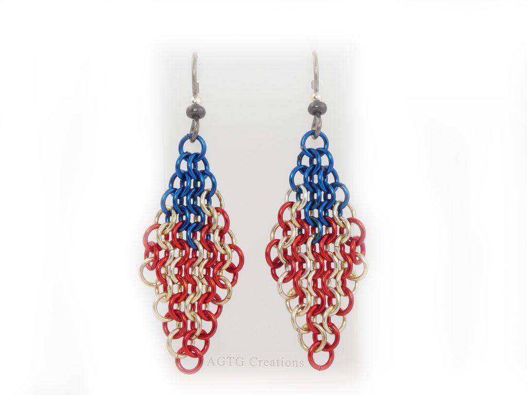 USA Flag Patriotic red white blue European 4 in 1 earrings Enameled Copper