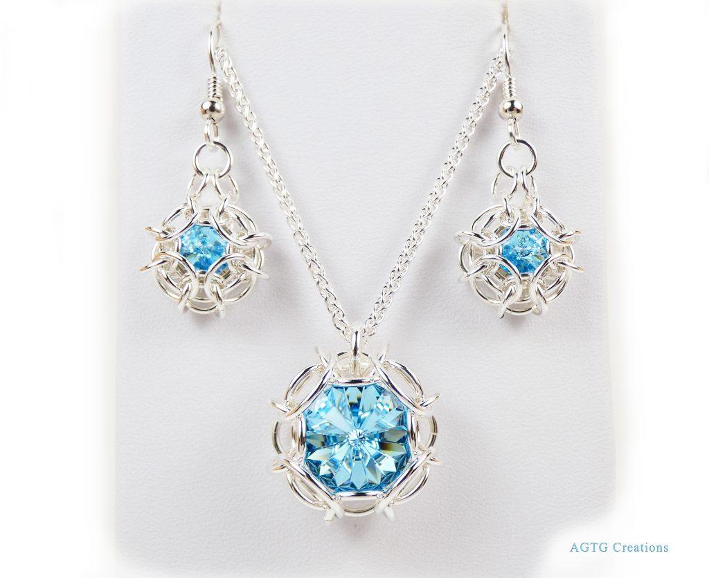 Argentium Phaedra set with Swarovski Crystals