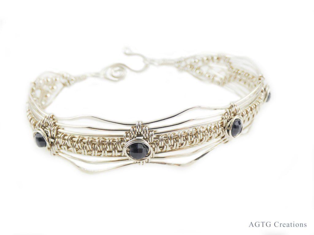 Sapphire Argentium wirework bracelet