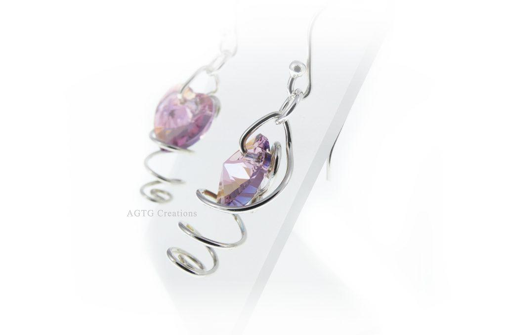 Argentium Spiral Swarovski Crystal Heart earrings