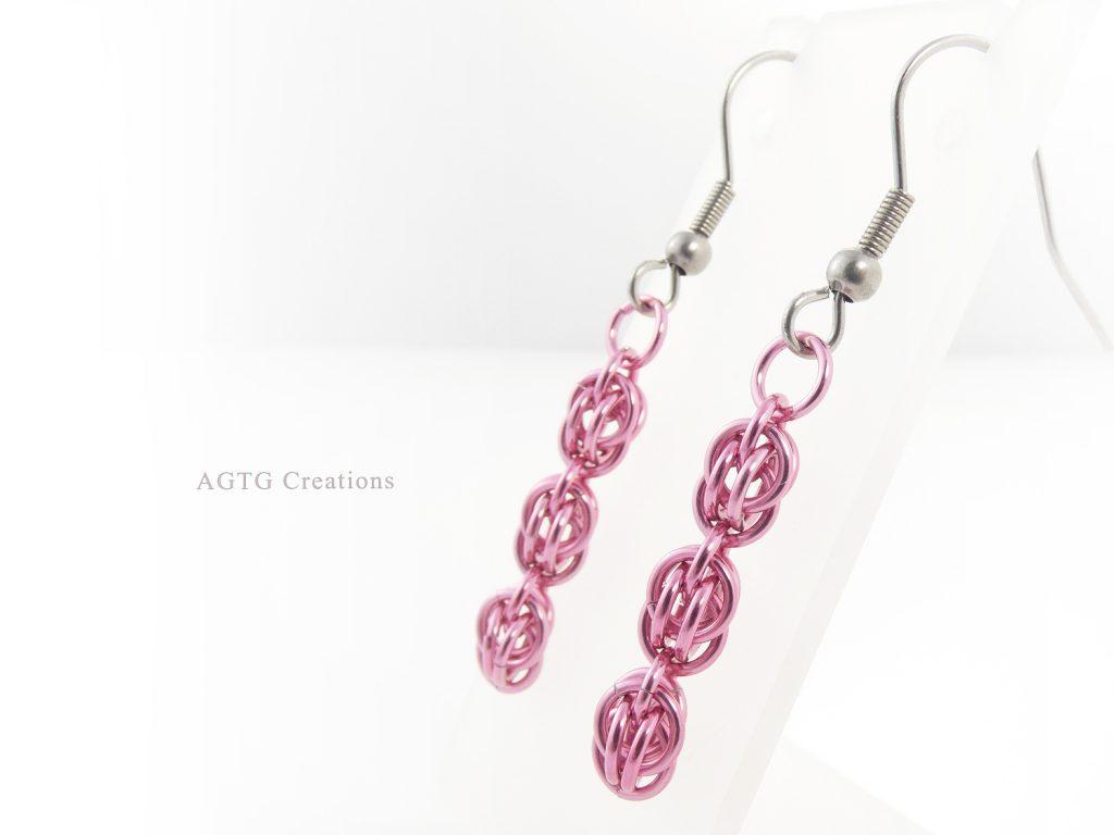 Pink Sweet Pea earrings