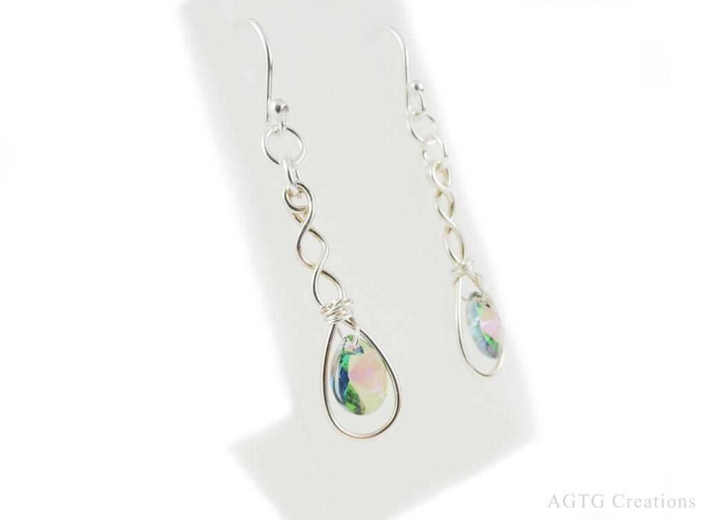 Argentium Swarovski Crystal Twist Long Drop earrings