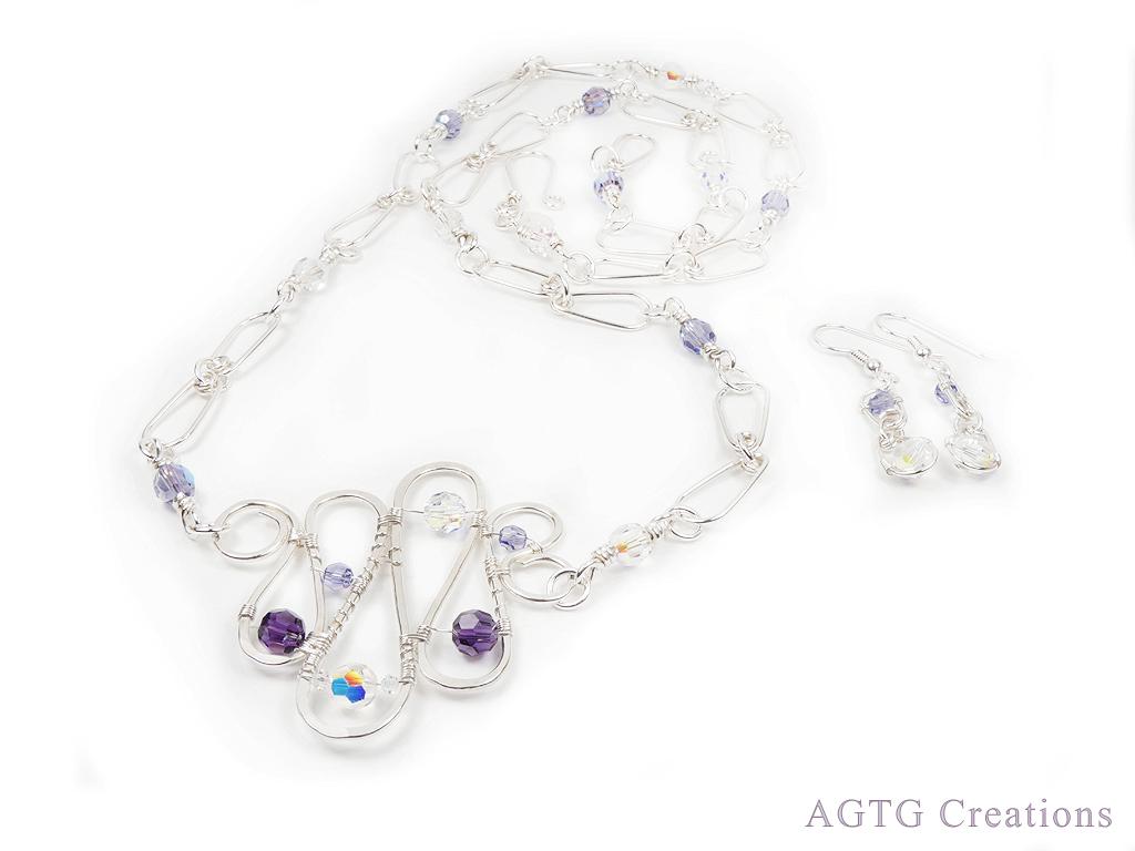 Argentium Swarovski Crystal Squiggles set
