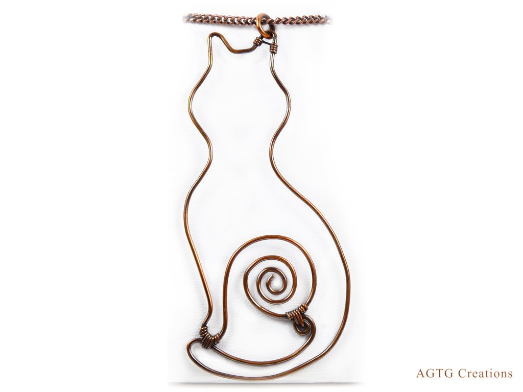 Copper Cat pendant
