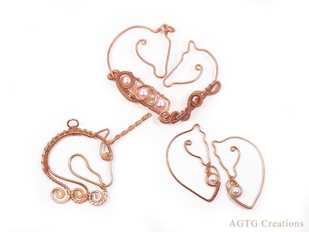 Raw Copper Horse unicorn pendants earrings