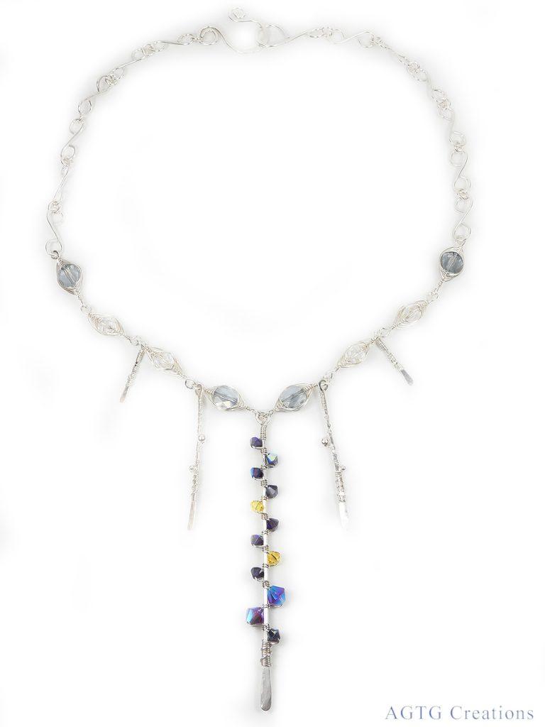 Argentium Swarovski Crystal Vine Herringbone necklace